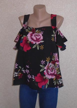 Блуза с открытими плечами\блуза в цветочний принт\блуза з відк...