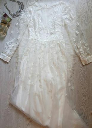 Белое длинное шелковое в пол нарядное вечернее свадебное плать...