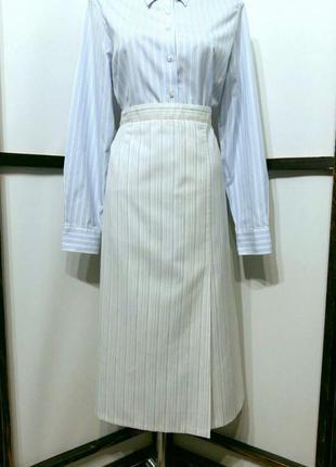 Винтажная белая в полоску юбка миди со складкой в составе легк...