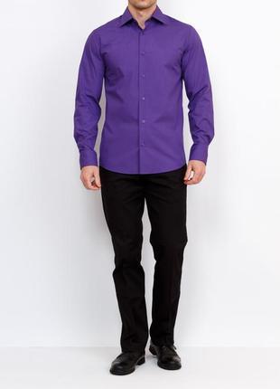 Брендовая мужская фиолетовая рубашка p xbushi этикетка