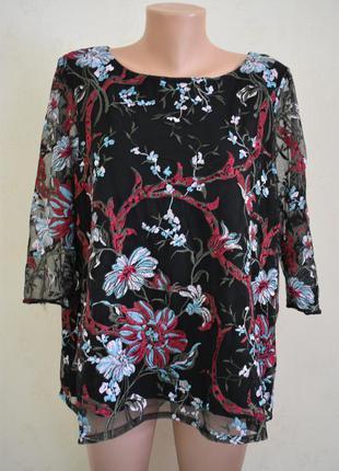 Красивая блуза с вышивкой большого размера marks & spencer
