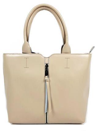 Классическая женская кожаная сумка молочного цвета, galanty