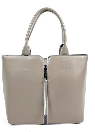 Женская кожаная сумка, в классическом стиле светло-серая galanty