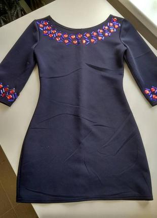 Эластичное мини платье с декором камни