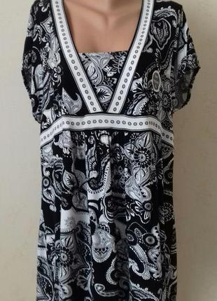 Новая трикотажная блуза с принтом большого размера