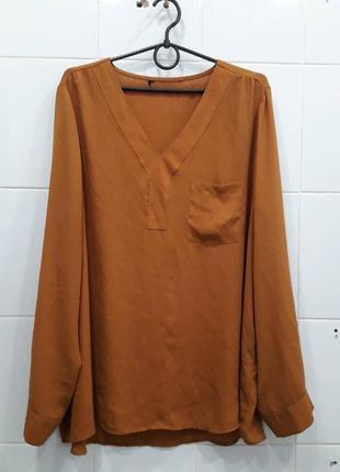 Шифоновая блуза рубашка карамельного цвета