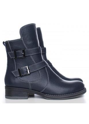 Кожаные женские демисезонные синие ботинки с пряжками низкий к...