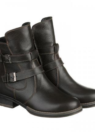 Кожаные женские демисезонные коричневые ботинки с пряжками низ...