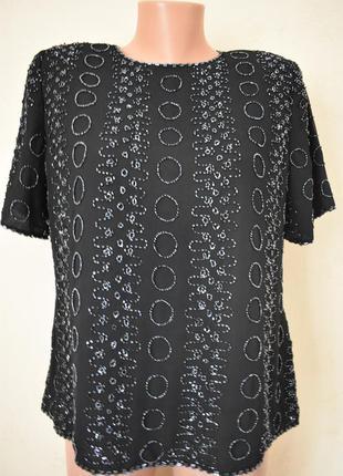 Новая шикарная блуза с вышивкой бисером