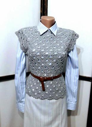 Ажурная вязанная кофточка топ жилет жилетка блуза с люрексом р...