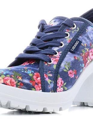 Текстильные туфли в цветочек libang на тракторной подошве 38 р...