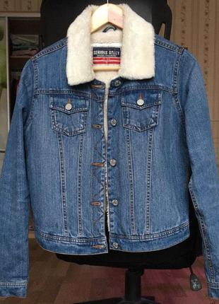 Джинсовая куртка пиджак serious sally утепленный с подкладкой ...