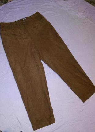 """Мягкие брюки под """"замш""""-экозамш,с высокой посадкой,с карманами..."""