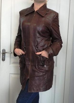 Удлиненная кожаная куртка / курточка