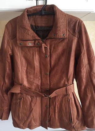 Натуральная кожаная куртка пиджак утеплённая