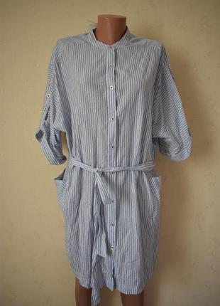 Новое натуральное платье-рубашка в полоску большого размера f&f