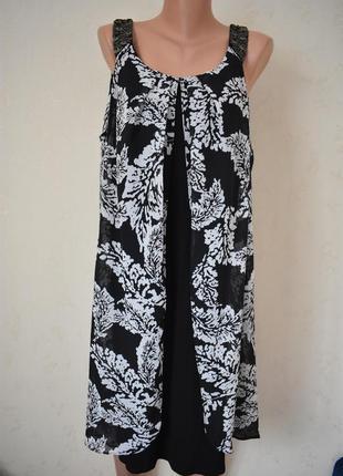 Новое красивое комбинированное платье с принтом большого разме...