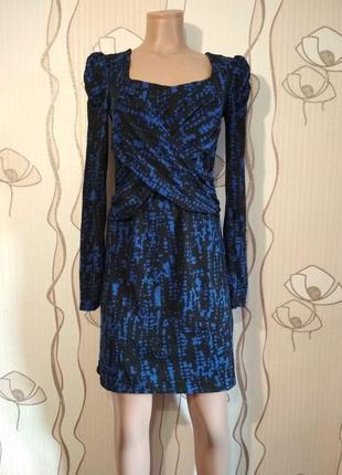 Отличное сине-черное трикотажное платье