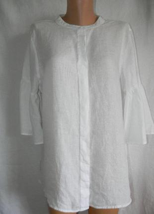Белая стильная блуза лен