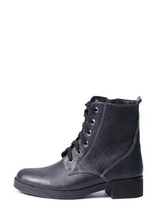 Кожаные женские синие демисезонные ботинки на шнуровке с молни...