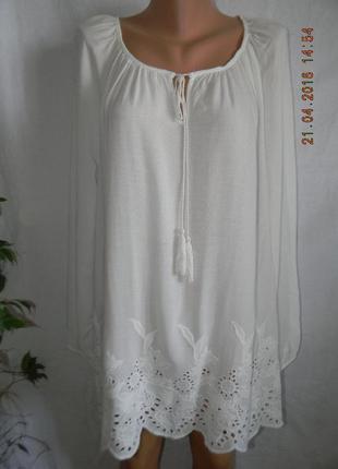 Белая натуральная блуза с вышивкой george