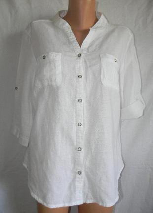Белая блуза лен с катоном bm