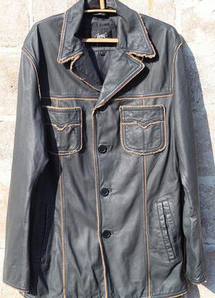 Шикарный кожаный пиджак-куртка gipsy