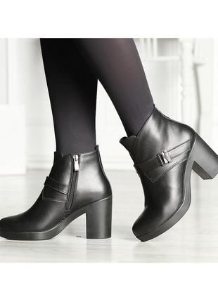 Кожаные женские черные весенние ботинки на устойчивом каблуке ...