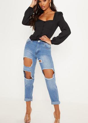 Шикарная приталенная черная блуза