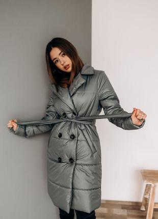 Тренч пальто куртка демисезонная на весну с поясом
