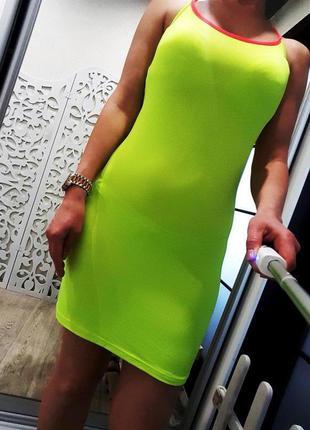 Платье htb облегающее женственное неоновое яркое салатовое лет...
