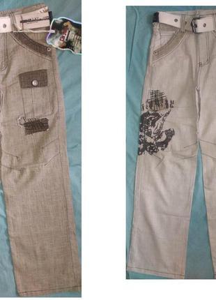 Льняные брюки, штаны на мальчика подростка 12-15 лет 152-170 рост