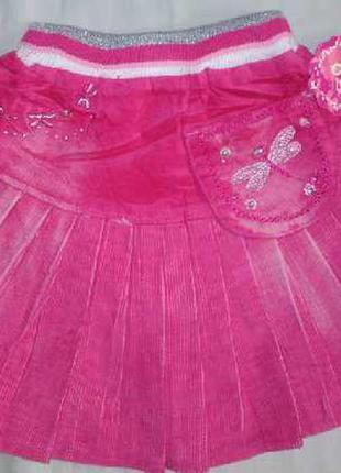 Яркая вельветовая юбка для девочек на резинке 6 мес. - 2 лет
