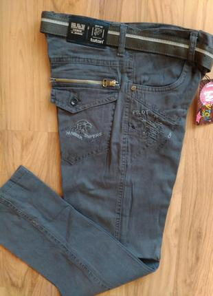 Котоновые брюки джинсы чиносы на мальчика 10-11 лет турция