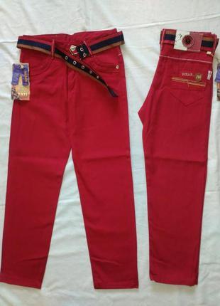 Котоновые брюки джинсы чиносы на мальчика цвет вишня 5,6,7,8,9...