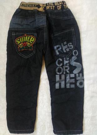 Модные утепленные джинсы на флисе на мальчика 1-1,5 года