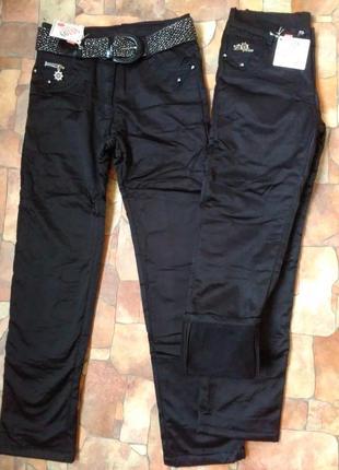 Утепленные брюки джинсы на флисе на девочку осень зима 10,11,1...