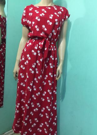 Элегантное женское летнее платье макси котэ 42-44,48-50 размер