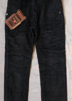 Теплые джинсы брюки на флисе на мальчика 4-14 лет