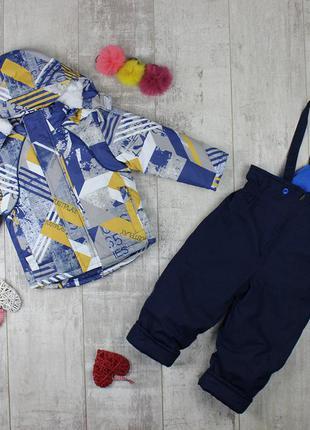 Стильный зимний термо комбинезон костюм на мальчика 1-2 года п...