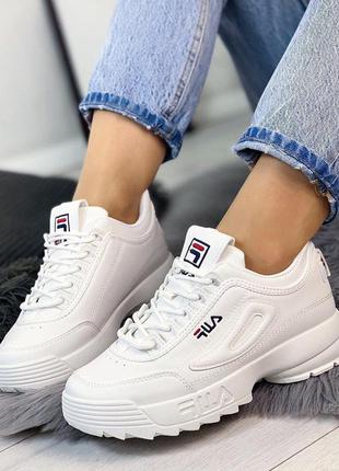Белые женские кроссовки в стиле fila, белые кроссовки 36-40р