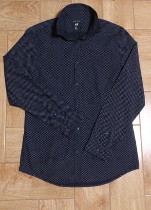 Рубашка черная мужская в горошек сорочка чорна чоловіча в горо...