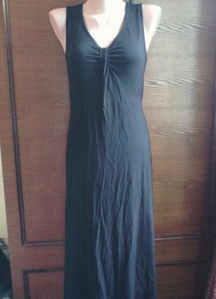 Летний черный трикотажный сарафан / платье olsen