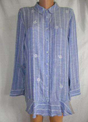 Легкая натуральная блуза рубашка с вышивкой