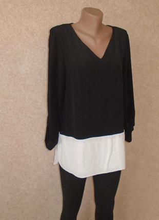 Удлиненная черно-белая блуза/рубашка/блузка/сорочка