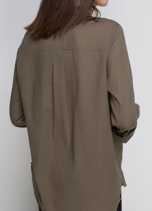 Брендовая рубашка вискоза хаки h&m