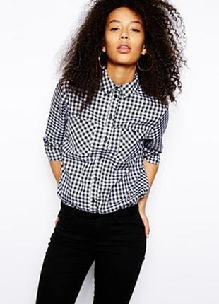 Стильная рубашка в клетку,блузка хлопок,оверсайз,h&m