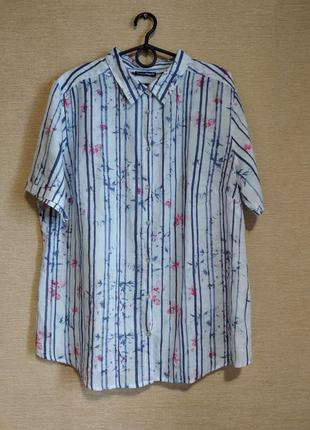 Блузка рубашка сорочка в полоску с цветами из льна с хлопком