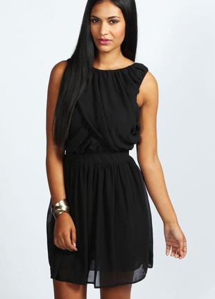 Шифоновое чёрное платье новое классическое с поясом boohoo