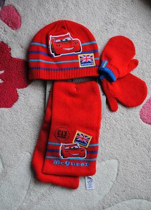 Next тачки  шапка, шарф и варежки  1-2 года  48-50cm